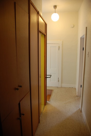 Bathroom bump-out & hall cabinets.