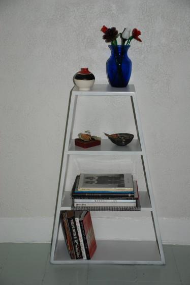 Painted bookshelf.